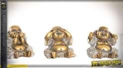 Trio de statuettes de bouddhas rieurs imitation bronze doré vieilli 13 cm