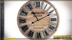 Horloge de style rétro bois vieilli et plaques de métal argentées Ø 60 cm