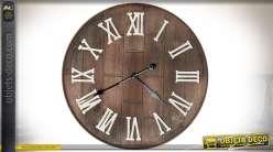 Horloge murale en bois vieilli finition brou de noix esprit Bodega Ø 61 cm
