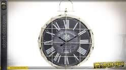Horloge de style vintage et industriel en métal blanc vieilli avec grille Ø 58 cm