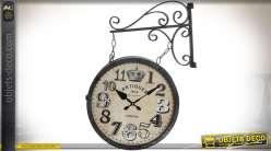 Horloge de gare suspendue en métal aspect rétro finition noir antique 67 cm