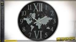 Grande horloge Ø 80 cm de style rétro avec motif en forme de mappemonde