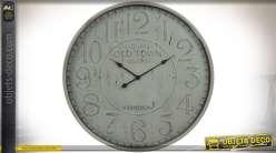 Grande horloge de gare murale de style vintage patine gris clair vieilli Ø 80 cm