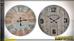 Série de 2 grandes horloges murales rétro en bois style ancien Ø 77 cm