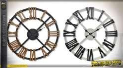 Duo d'horloges de grandes horloges murales en bois à chiffres romains Ø 70 cm