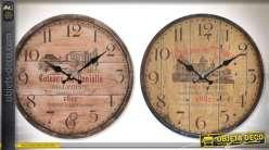 Horloges en bois façon couvercles de tonneaux, sur le thème du vin Ø 34 cm