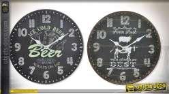 Série de deux horloges en bois finition gris ardoise foncé Ø 34 cm