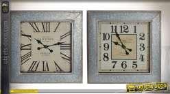 Duo d'horloges murales carrées style rétro indus effet zinc vieilli 60 x 60 cm