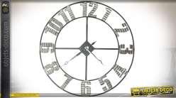 Horloge de style industriel en métal et tôle ondulée vieillie Ø 92 cm