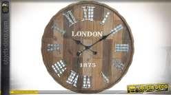 Horloge murale en bois et métal style rétro imitation couvercle de barrique Ø 60 cm