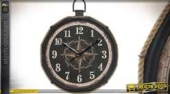 Horloge murale rétro en cordage et métal style bord de mer 99 x 81 cm