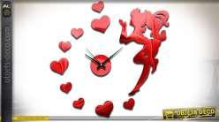 Horloge en sticker 11 éléments à coller, coloris rouge brillant thème fée et coeurs