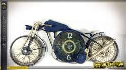 Horloge murale en forme d'ancienne moto dragster en métal 81 cm