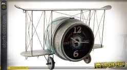 Horloge murale en métal style rétro indus vieil avion biplan 76 cm