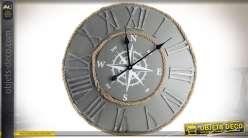 Horloge murale en métal et cordage style bord de mer Ø 63 cm