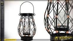 Lanterne de table bougeoir de style rétro et industriel en métal 20 cm