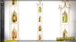 Colonne de 4 lanternes suspendues de style oriental en métal doré 110 cm