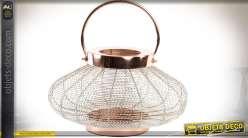 Lanterne bougeoir de table en métal cuivré aspect grillagé Ø 33 cm
