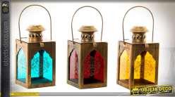 Série de 3 petites lanternes bougeoirs en métal cuivré et verre teinté 15 cm