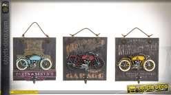 Ensemble de 3 portes-manteaux muraux en bois et métal thème vieilles motos
