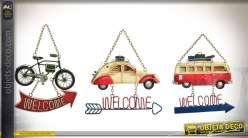 3 décorations de portes en suspension : Combi VW, 2 CV et vélo style rétro.