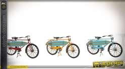 Série de trois vélos rétros décoratifs en métal 29 cm