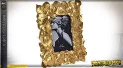 Cadre photo en résine encadrement en feuillages dorés pour photo 15 x 10 cm