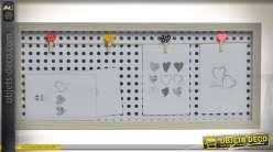 Tableau d'affichage à fond perforé pour photos 15 x 10 cm mini-pinces à linge