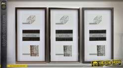 Série de 3 cadres photos coloris noir et gris à bordures en biseaux 45 x 35 cm