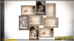 Pêle-mêle à 8 vues avec encadrements en bois à relief profond