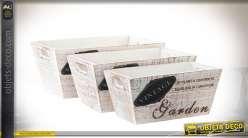 Série de trois pots jardinières en bois patine blanche effet vieilli 28 cm