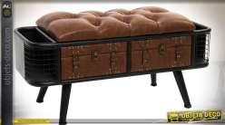 Banquette style vintage et industriel métal noir et simili-cuir marron vieilli