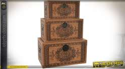 Série de 3 coffres en bois et liège à motifs de mandalas et frises ethniques