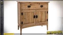 Buffet rétro en bois naturel vieilli avec un grand tiroir et ouvrant sous deux portes