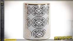 Bout de canapé en porcelaine forme cylindrique coloris blanc et or style asiatique