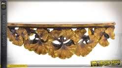 Console murale de style baroque effet sculpté ajouré patine dorée à l'ancienne