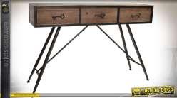 Console vintage en bois vieilli et métal laqué noir avec 3 tiroirs en façade 140 cm