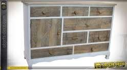 Commode rustique 8 tiroirs 1 porte bois et cordes, finition blanche et bois vieilli