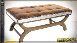 Bout de lit avec habillage en miroirs et similicuir capitonné marron fauve