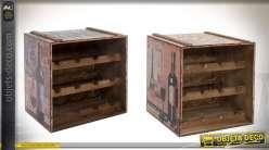 Série de deux casiers range-bouteilles pour 24 bouteilles illustrations vintage