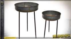 Duo de table d'appoint rondes avec plateaux en métal vieilli 80 cm