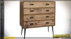 Commode 4 tiroirs de style scandinave en bois et métal angles arrondis