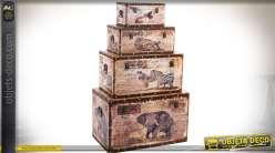 Série de 4 coffres en bois et toile illustrés thème animaux d'Afrique 70 x 42 cm