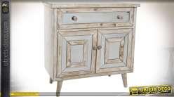 Buffet / commode bois vieilli et blanchi avec façades en miroirs biseautés