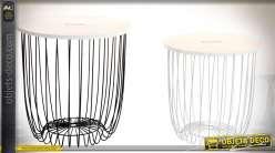 Duo de tables basses circulaires en bois et métal effet wireframe noir et blanc