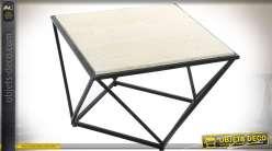 Table basse bout de canapé design en métal noir et pierre blanche 60 x 60 cm