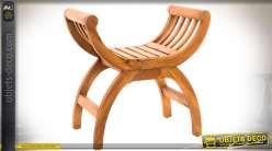 Siège Dagobert en bois finition cirée avec assise en clairevoie. Style exotique.