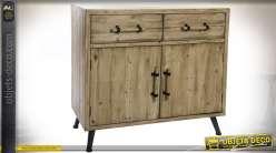 Buffet commode finition bois naturel 2 tiroirs 2 portes style scandinave