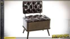Mini-banquette en métal et similicuir noir capitonné coloris noir et métal bronze