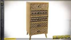 Chiffonnier style rétro scandinave à 5 tiroirs avec motifs géométriques